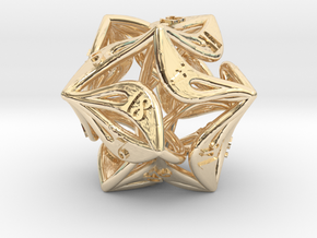Curlicue 20-Sided Dice in 14k Gold Plated