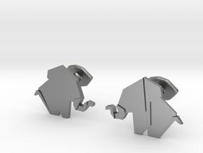 Origami Elepant Cufflink in Natural Silver