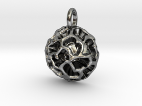 Fossil Acritarch Cymatiosphaera Pendant in Polished Silver