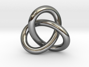 Robust Large Trefoil Knot Pendant in Polished Silver