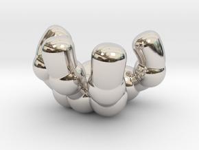 retro robot hand (left) in Rhodium Plated Brass: Small