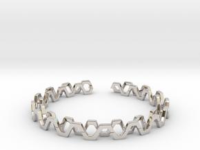 Honey Lines, Bracelet Medium Size d=65mm in Rhodium Plated Brass: Medium