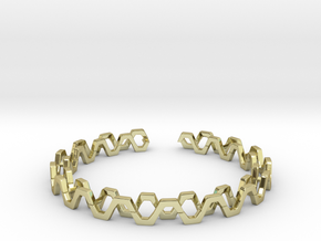 Honey Lines, Bracelet Medium Size d=65mm in 18k Gold Plated Brass: Medium