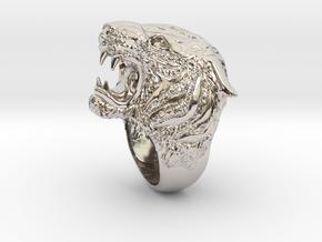 Tiger Ring s 7.5 in Rhodium Plated Brass: 7.5 / 55.5