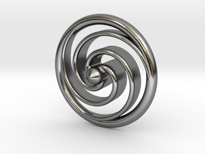 Spiral Spinning Top in Polished Silver