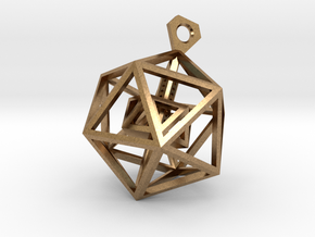 Geometric Tower Pendant in Natural Brass