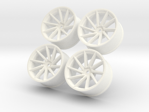 1/10 Touring Car Vossen CVT Wheels Set  in White Strong & Flexible Polished