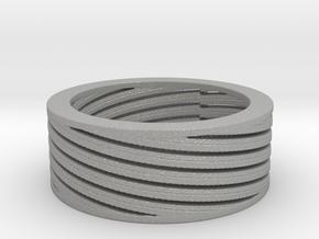 Diagonal stripes ring Ring Size 8 in Aluminum