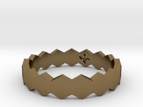 Hex Ringsaround Hexagon Geometric Ring Sizes 6-10 in Polished Bronze: 7 / 54