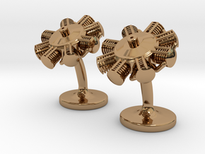 Radial Engine Cufflinks in Polished Brass