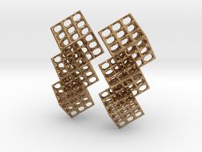 Triple Matrix Earrings in Polished Brass (Interlocking Parts)