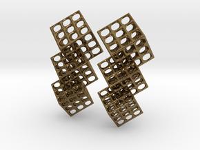 Triple Matrix Earrings in Polished Bronze (Interlocking Parts)