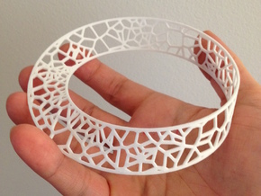 Voronoi Möbius Strip in White Processed Versatile Plastic