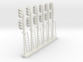 Block Signal Double 3 Light LH (Qty 6) - HO 87:1 in White Natural Versatile Plastic