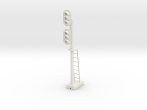 Block Signal Double 3 Light LH - HO 87:1 Scale in White Natural Versatile Plastic