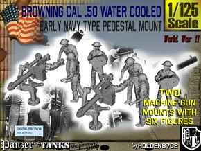 1-125 USN Cal 50 M2 WC & Crew Set1 in Smooth Fine Detail Plastic