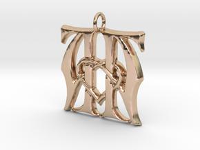 Monogram Initials AA.2 Pendant in 14k Rose Gold