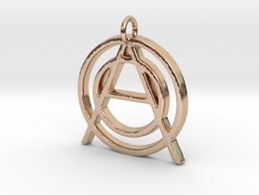 Monogram Initials OOA Pendant  in 14k Rose Gold