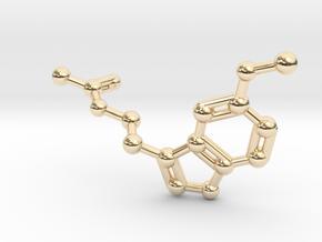 Melatonin Molecule Keychain in 14k Gold Plated Brass