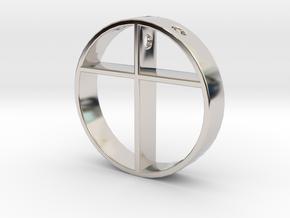Cross pendant for men. in Rhodium Plated Brass