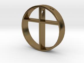 Cross pendant for men. in Polished Bronze