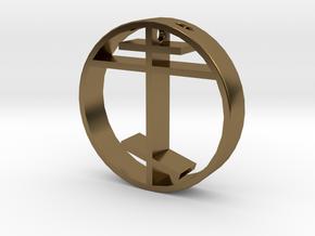 Orthodox cross pendant for men. in Polished Bronze