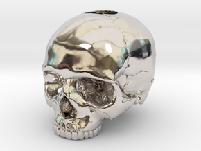 30mm 1.18in  Keychain Skull (8mm/0.31in hole) in Platinum
