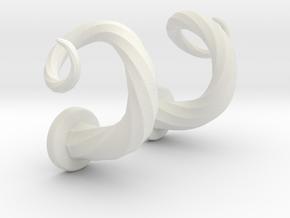 Spiral Cork-Screw Horn Set in White Natural Versatile Plastic