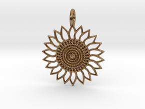 Sunflower Pendant in Natural Brass