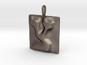 18 Tzadi Pendant in Polished Bronzed Silver Steel