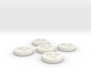 Plus/Minus Counters (Batch of 5) in White Natural Versatile Plastic
