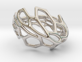 Hexawave Ring-S size in Rhodium Plated Brass