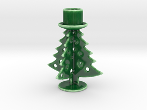 Christmas Tree Candle Holder in Gloss Oribe Green Porcelain