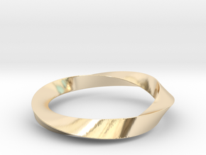 Mobius_wed_S in 14k Gold Plated Brass: Small