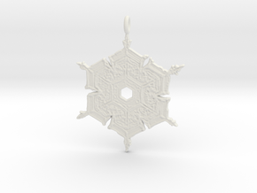 Snowflake Pendant/Earring in White Strong & Flexible