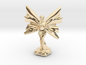 Fairy with large wings, in flight 30mm scale in 14k Gold Plated