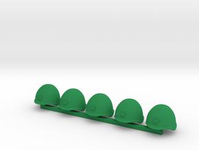 5 x Russian Helmets in Green Processed Versatile Plastic