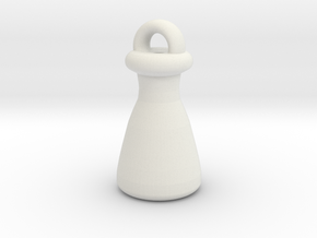 Erlenmeyer Keychain in White Natural Versatile Plastic