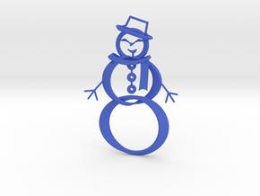 Snowman ornament in Blue Processed Versatile Plastic