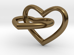 Two hearts in Polished Bronze (Interlocking Parts)