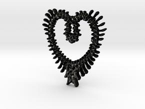 chunky big vertebrae heart in Matte Black Steel