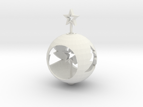 Christmas Ball With Movable Star in White Natural Versatile Plastic: Large
