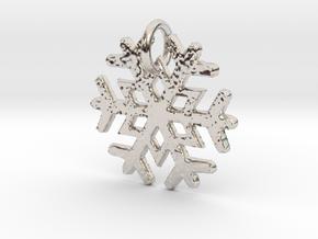 Snowflake Pendant B in Rhodium Plated Brass