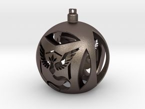 Team Mystic Christmas Ornament Ball in Polished Bronzed Silver Steel
