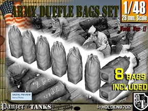 1-48 Army Duffle Bags Set1 in Smooth Fine Detail Plastic