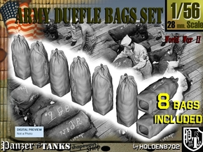 1-56 Army Duffle Bags Set1 in Smooth Fine Detail Plastic