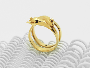 Stretch Rabbit Ring in Polished Brass: 8 / 56.75