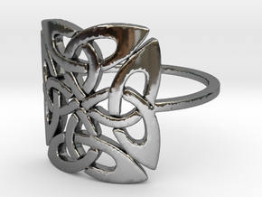 Triquetra (Size-4-13) in Fine Detail Polished Silver: 8 / 56.75