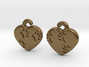 Pawprints On My Heart Earrings in Natural Bronze