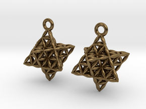 Flower Of Life Star Tetrahedron Earrings in Natural Bronze